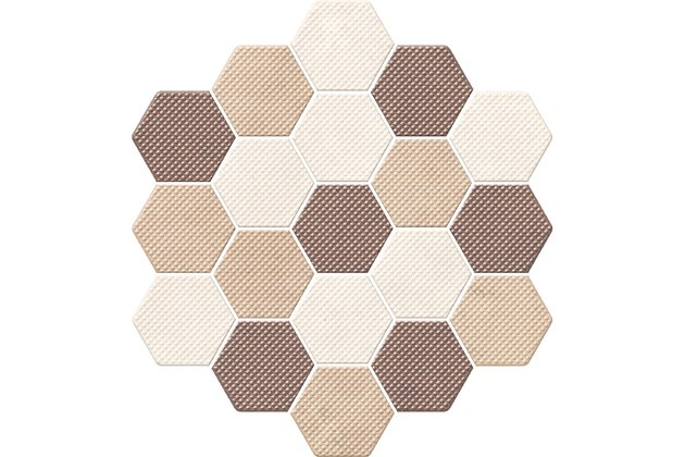 Trail mix-marron decor hexagon 21,3x23,1